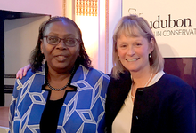 Alumna Dorceta Taylor and YSE Dean Indy Burke pose together after Taylor receives the Rachel Carson Award at the 2018 Audubon Women in Conservation Luncheon.