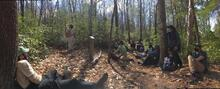 Professor Ashton lectures on silviculture along the Red Front Trail. Photo courtesy of Viola Taubmann '21 MEM and Andrew Currie '21 MF.