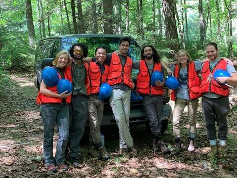 "The COVID Crew lived and worked as an isolated ""pod"" at Yale-Myers Forest. Crew members from left to right: Shrabya Timsina '20 MFS, Zhi Li '20 MFS, Austin Dziki '21 MF, Schuyler Bordon '20 MF, Karam Sheban '20 MF, Brittany Wienke '20 MF, and Devon Ericksen '20 MF."