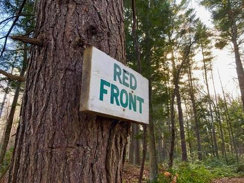 """White sign on a tree in a forest. Green letters on the sign say """"RED FRONT"""""""
